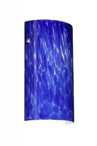 Besa Lighting 704286-E1-BK Tamburo 7 Collection 1-Light ADA CFL Wall Sconce, Black Finish with Blue Cloud Art Glass Shade