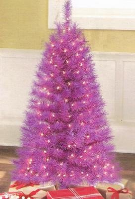 4-ft. Noble Pine Pre-Lit Christmas Tree, Purple