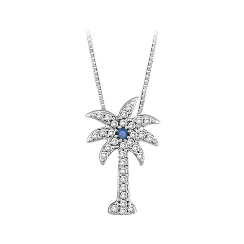 14K White Gold 1/5 ct. Diamond and Blue Center Diamond Palm Tree Pendant with Chain