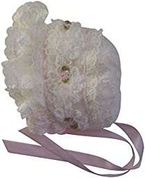 Ivory Chiffon and Lace and Pink Silk Roses with Pearls Baby Christening Bonnet (Newborn)