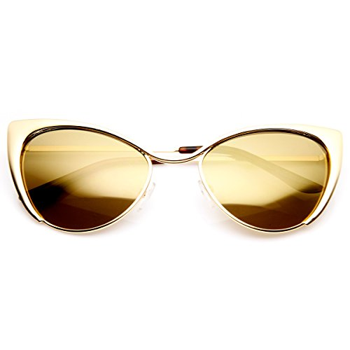 zeroUV - Womens Fashion Full Metal Color Mirrored Lens Cat Eye Sunglasses