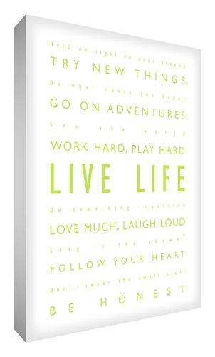 "Feel Good Art, Stampa su tela, scritta in calligrafie diverse, motivo: scritta in inglese ""Live life / Vivi la vita"", 30,5 x 40,6 cm, Verde (Lindgrün)"