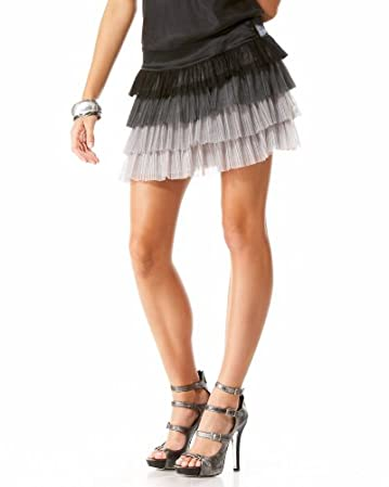 bebe Pleated Tulle Mini Skirt