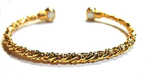 Magnetic Bracelet in Rope Design with Gold Overlay