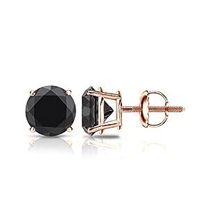 14k Rose Gold Round Black Diamond 4-Prong Basket Stud Earrings (2 1/2 ct, Black)