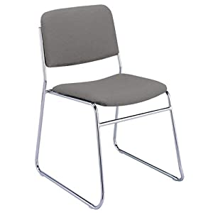 KFI Seating 310CH1501CT 300 Series Stacking Sled Base Chair, Armless, Gray Fabric Upholstery, Chrome