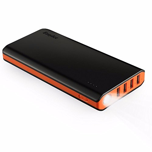 EasyAcc 20000mAh Caricabatterie Portatile 4-Port Batteria Esterna Torcia Elettrica per iPhone iPad Samsung Smartphone Tablets - Nero e Arancio