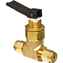 "Ham-Let H1200 Series  Brass Toggle Valve, Inline, 1/8"" Let-Lok Fitting"