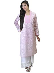 Pink Cotton Chikankari Kurta