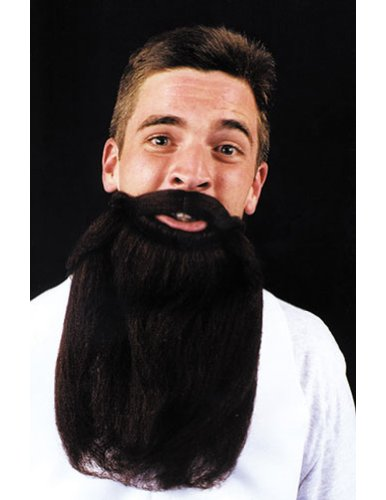 Costume-Accessory Mustache Beard Black 14In Halloween Costume Item - 1 size
