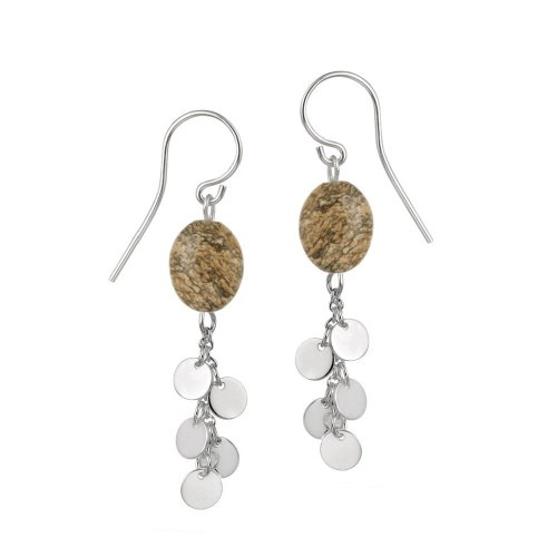 Sterling Silver French Wire Earrings with Picture Jasper Bead and Silver Disc Drops