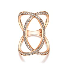 buy Redbarry Unique Cross Circle Full Finger Rings With Tiny Cz Paved In Rose Gold Plated