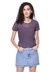 Wisstler Women's Purple Cotton Embroidery Top Size - Medium