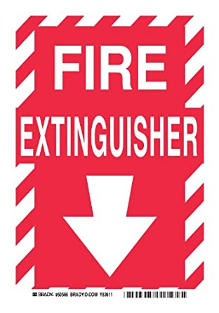 "Brady 60566 Self Sticking Polyester, 10"" X 14"" Sign, Legend, ""Fire Extinguisher (With Down Arrow)"""