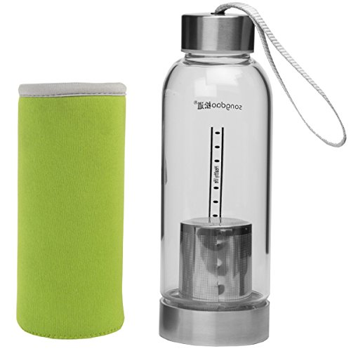 Le Juvo 12 Oz Glass Bottle With Soft Cover Sleeve And Metal Lid- Green