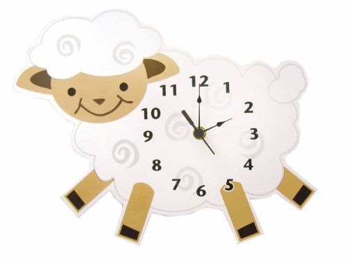 Trend Lab Baby Barnyard Lamb Shaped Wall Clock, Cream - 1