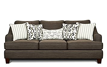 Chelsea Home Furniture Hope Sofa - Odin Pewter with Cotton Gin Pewter/Bukhara Pewter/Tattler Ivory Pillows