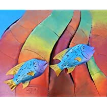 Rainbow Aquarium Tropical Fish Metal Wall Frame