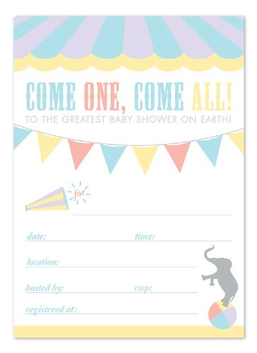 Circus Baby Shower Fill-In Invitations back-112963