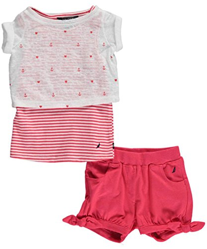Nautica Baby Girls' Layered Tee and Knit Pull On Short Set, Rose Coral, 24 Months