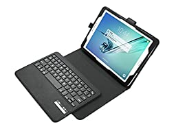 Morjava® Bluetooth Keyboard Case For 9.7 inch Samsung Tab S2 Detachable Embossed Wireless Mini Keyboard Ultra Slim Rechargeable compatible with Windows Android IOS Tablet PC Smartphone TV- Black