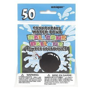 Black Water Bomb Cannon Ball Balloons, 50 Count