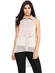 Grey Chiffon Top By Magnetic Designs (MDTOP545 _Grey_Large)