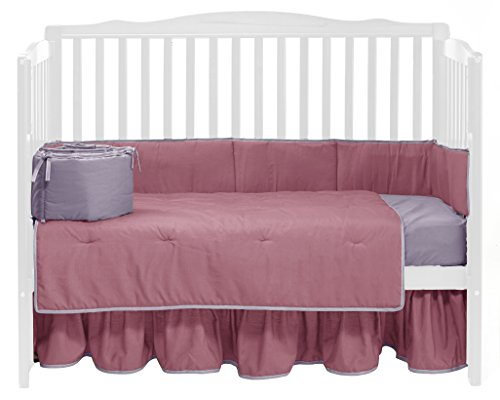 Baby Doll Solid Reversible Crib Bedding Set, Pink/Lavander