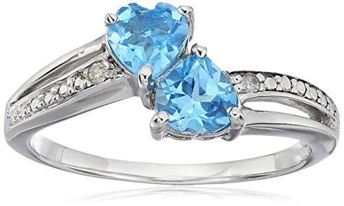 Sterling Silver Diamond Accent and Blue Topaz Two Heart Ring