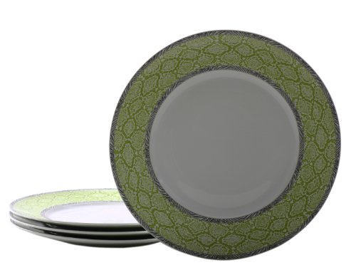222 Fifth Python Dinner Plate, Lime Green, Set Of 4