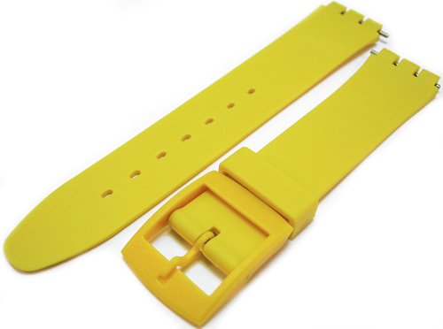 Swatch Style Yellow Resin Rubber Watch Strap Band 17mm