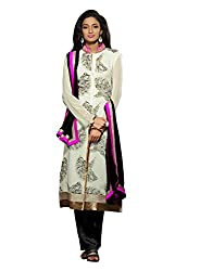 Dlines white Coloured Pure Georgette Salwar Suit