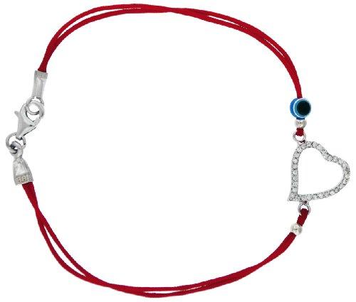 Silver White Cubic Zirconia Fancy Heart Red Bracelet 18cm