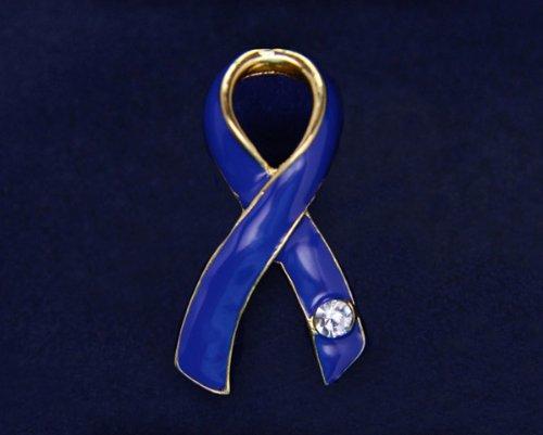 Dark Blue Ribbon Pin- Large Ribbon with Crystal (36 Pins)