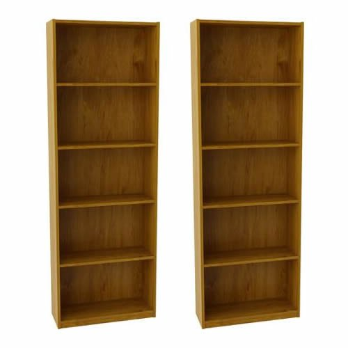 Ameriwood Set of 2 (Bundle) 5-shelf Bookcases. Choice of White, Black, Espresso, Ruby Red and Alder. Adjustable Shelves, Decorative and Contemporary. Harmonizes Well with Most Decor Styles. Use in Living Room, Family Room, Home Office, Work Office, or Any Room. (Alder) 2 Shelf 5 Shelf Bookcase