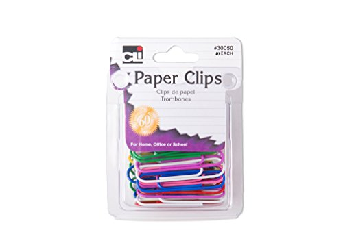 Charles Leonard Paper Clips, Jumbo Size, Assorted Coated Colors, 40 Clips per Pack, Set of 12 Packs (30050)