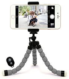 Bastex Universal Compact Flexible Octopus Style Grey Tripod Stand Holder/Mount with Adapter for Smartphone / Digital Camera / GoPro Hero All Versions - Includes Remote