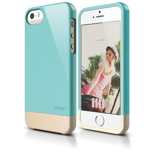 elago S5 Glide Case Limited-Edition for iPhone 5/5S - eco friendly Retail Packaging (Coral Blue / Champagne Gold)