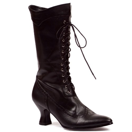 Womens Sexy Black Boots English Calf Boot With Lace Theatre Costumes 2.5'' Heel