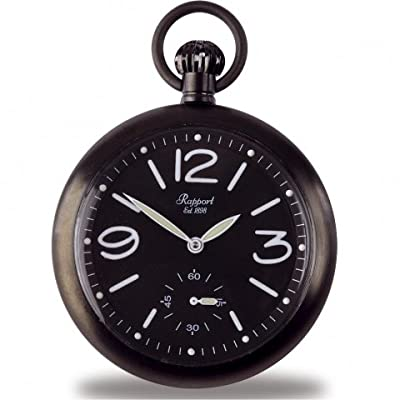 Rapport Pocket Watch PW35 Black Ion Plated Open Face