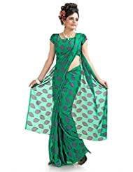 Designersareez Women Chiffon Jacquard Printed Green Saree With Unstitched Blouse(961)