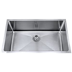 Kraus KHU100-32 32-Inch Undermount Single Bowl 16 gauge Kitchen Sink, Stainless Steel