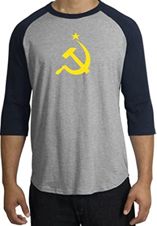 "USSR Soviet Union Republic ""Hammer and Sickle"" Adult 3/4 Sleeve Raglan T-shirt - Heather Grey/Navy, Small"