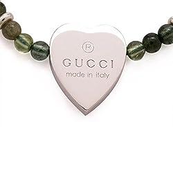 Gucci 297723 Gucci Green Tourmaline Sterling Silver Heart Charm Bracelet