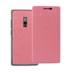 iKraft Rain Pattern PU Leather Flip Cover For OnePlus Two - Pink