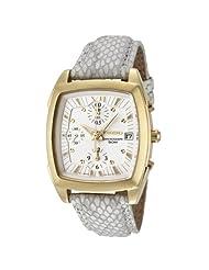 Seiko Women's SNDZ58 Chronograph White Dial Pearl Grey Leather Watch