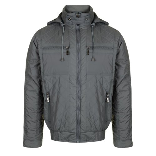 In-trend Men's padded jacket with hood - Charcoal
