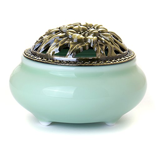 Incense Stick Burner with Brass Calabash Holder - Chinese Celadon Decorative Porcelain Censer - Ceramic Cone Incense Ash Catcher Tray Bowl (Green) (Hookah Coal Stove compare prices)