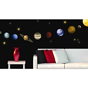 Amazon.com - Solar System Peel and Stick Wall Decals - 9 ...