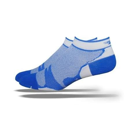 DeFeet Levitator Lite Lo Blue/White Cycling/Running Socks